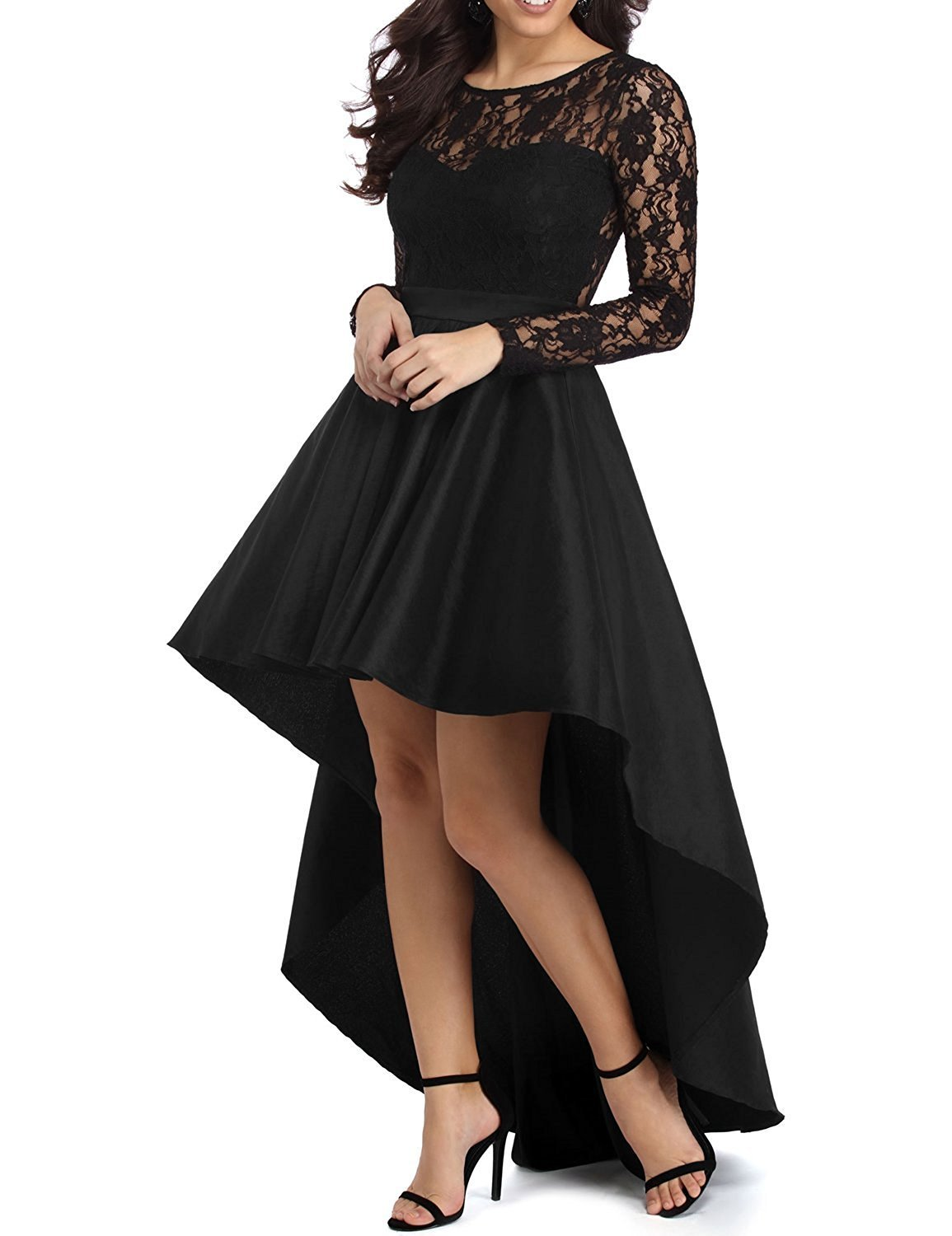 Women's High Low Long Sleeve Black Prom Dress Lace Cocktail Dresses Party Gowns