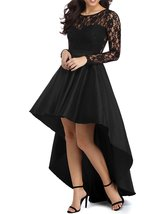 Women's High Low Long Sleeve Black Prom Dress Lace Cocktail Dresses Party Gowns - $118.99