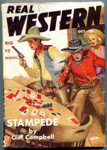 Real Western Pulp October 1941- Great poker gunfight cover- Archie Joselyn VG+ - $94.58