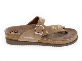 Sandales plates MEPHISTO HELEN SP C en cuir chameau - Chaussures Femme - $97.92