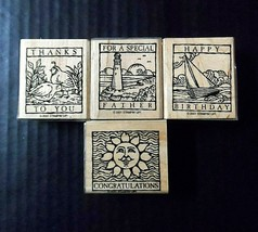 Stampin' Up Rubber Stamps Set 4 Happy Birthday Thanks Congrats Special F... - $14.07