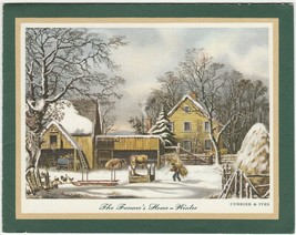 Vintage Christmas Card Currier and Ives The Farmer's Home Winter Hallmark - $6.92