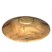 """Artisan Signed Hand Turned Camphor Wood Bowl Turquoise Inlay 13.5"""" - $58.04"""