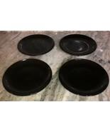 "Royal Norfolk Black 7 1/2""Stoneware Dinnerware Saucer Plates Set Of 4-NE... - $29.28"