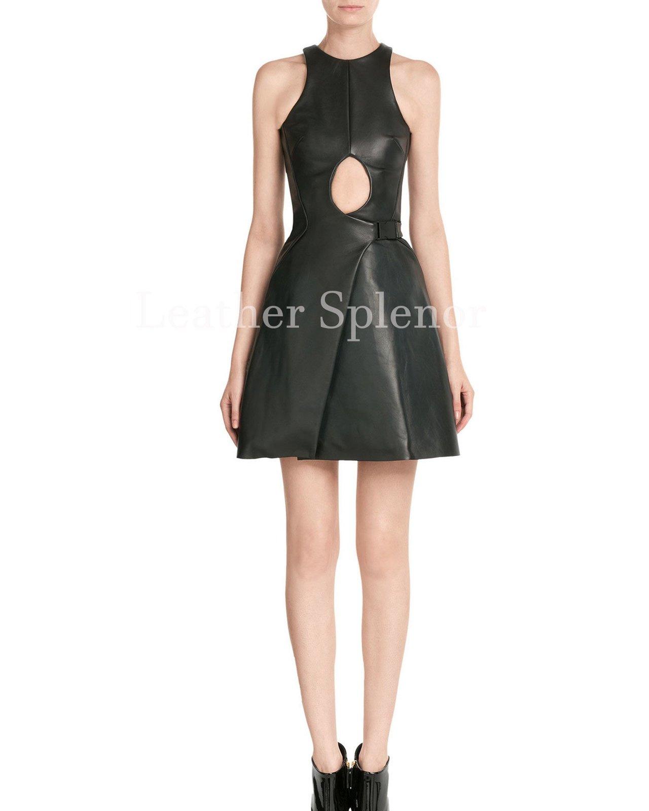 Keyhole Women Leather Skater Dress