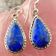 Sterling Silver Teardrop Lapis Dangle Earrings  - $85.00