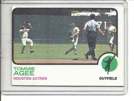 (b-31) 1973 Topps #420: Tommie Agee - Factory Error - Off-Set Cut - $6.50