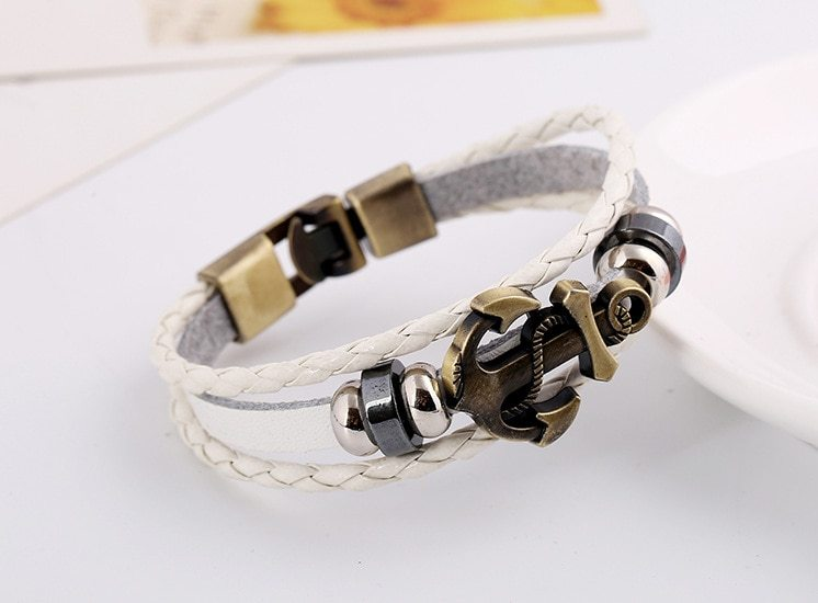 anchor braided cowhide bracelet cross border explosion European and American Buc