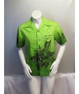 Vintage Hawaiian Aloha Shirt - Green with Theme Graphic - Ui Maikia - Me... - $65.00