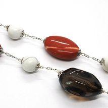 Silver necklace 925, jasper, turquénite, smoky quartz, oval chain image 2