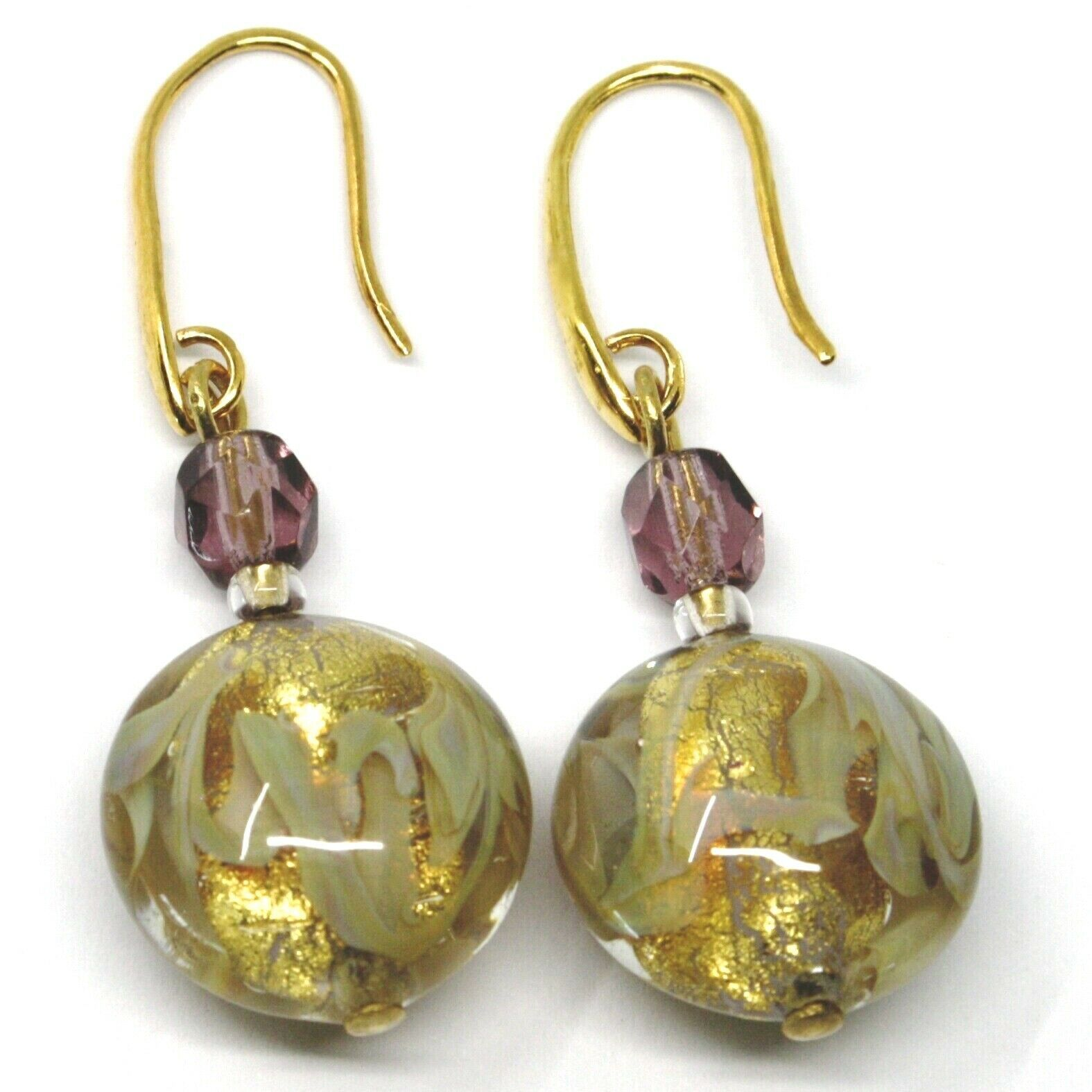 PENDANT HOOK EARRINGS PURPLE YELLOW DISC MURANO GLASS GOLD LEAF MADE IN ITALY