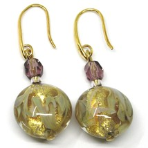 PENDANT HOOK EARRINGS PURPLE YELLOW DISC MURANO GLASS GOLD LEAF MADE IN ITALY image 1