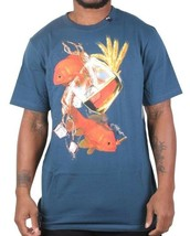 LRG Uomo Blu Nautico Gills E Grani Oro Pesce Liquor Bere T-Shirt Nwt