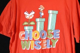 Red 2XL Super Mario Brothers Choose Wisely Graphic T Shirt - $8.87