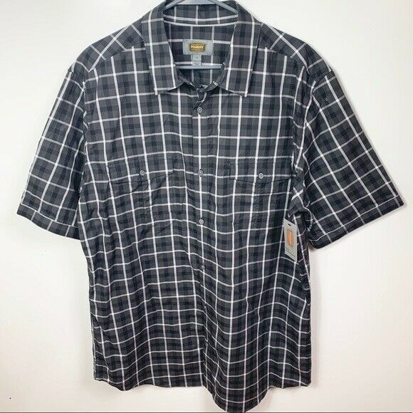 Primary image for Nwt Foundry button down shirt Short sleeve black gray Plaid men's sz large tall
