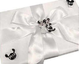 Wedding Mickey and Minnie Classic White Satin Signature Guest Book - $31.97