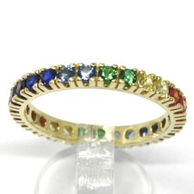 SOLID 18K YELLOW GOLD ETERNITY BAND RING, MULTI COLOR, RAINBOW CUBIC ZIRCONIA image 2