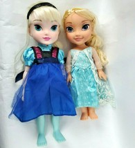 Disney Frozen Collection Elsa Toddler Doll Lot of 2 Dolls Dress Braids Toy Play - $35.06