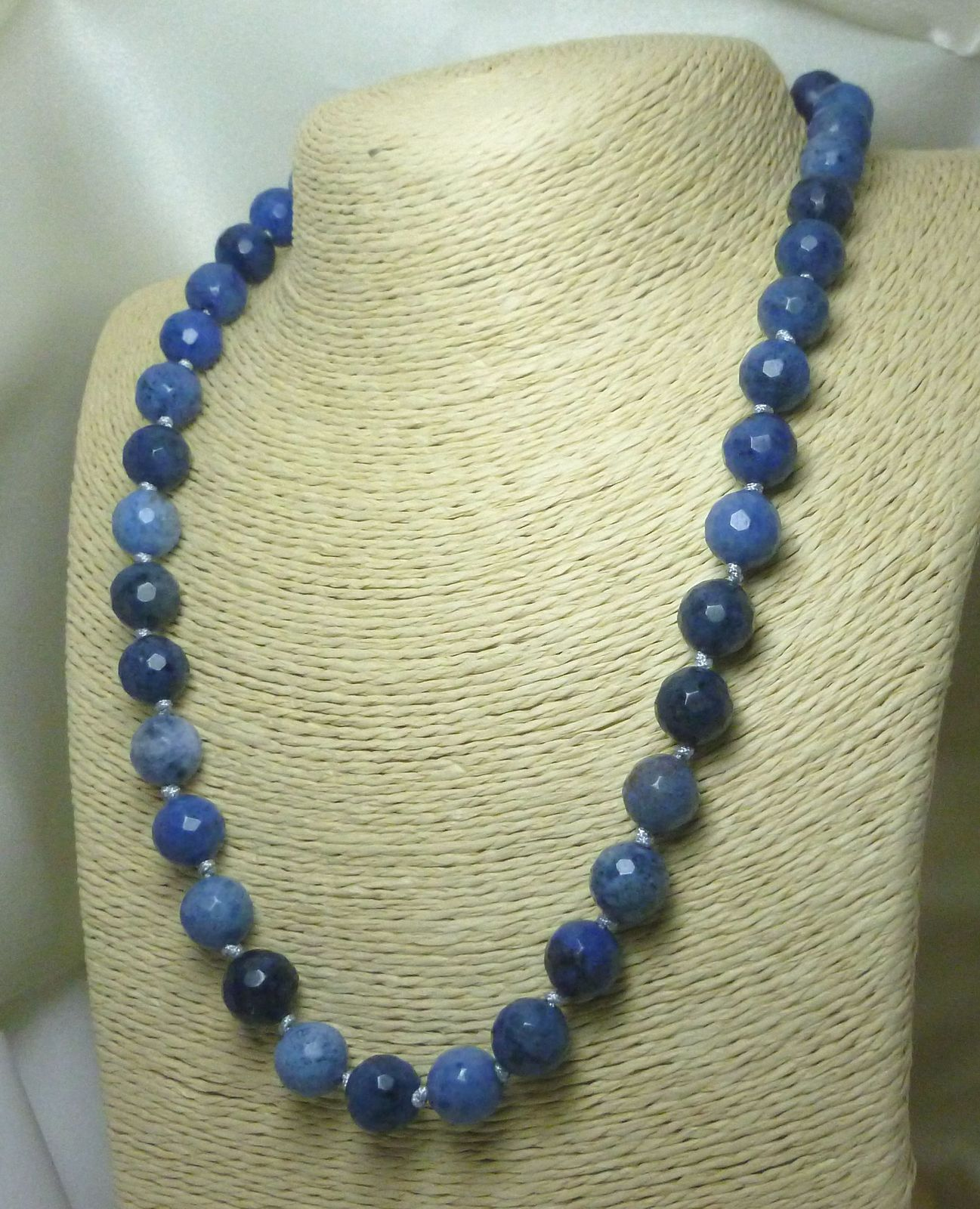 Sunset Dumortierite Round Gemstone Beaded Necklace Blue 20 inch