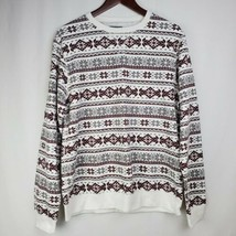 Threads 4 Thought Womens Sweatshirt M White Burgundy Gray Fair Isle Pull... - $19.99