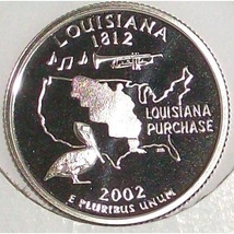 2002-S Clad Proof Louisanna State Quarter PF65DC #428 - $2.39