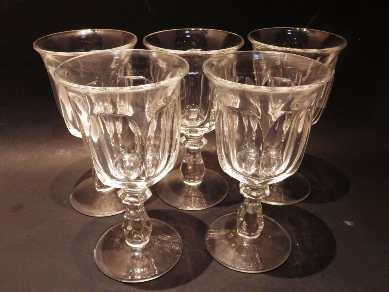 """(5) Heisey Colonial Clear Goblet Water  6.75"""" H Perfect (Stem #373-341) - $44.55"""