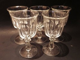 "(5) Heisey Colonial Clear Goblet Water  6.75"" H Perfect (Stem #373-341) - $44.55"