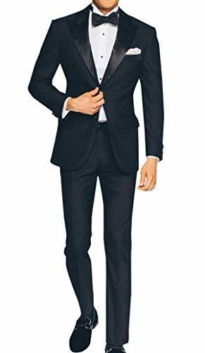 2 Piece Mens Slimfit Midnight Blue Wedding Tuxedo
