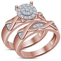 Engagement Ring and Wedding Band 14K Rose Gold Plated 925 Silver Bridal ... - $87.59