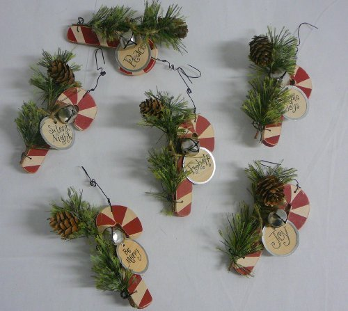 Wooden Candy Cane Ornaments - Set of 6