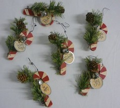 Wooden Candy Cane Ornaments - Set of 6 - $39.99