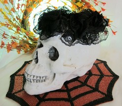 """Halloween LARGE SUGAR SKULL with BLACK LACE CROWN Home Decor 10"""" NEW - $20.21"""
