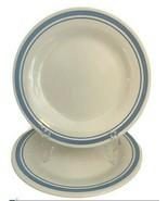 "2 Vintage MCM OXFORD Brazil China Plates Blue STRIPE 9"" Restaurant Ware ... - $23.75"