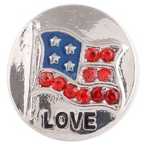 Silver Rhinestone Flag Red Blue 20mm Snap Charm Interchangeable For Ging... - $6.19