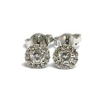 White Gold Earrings 750 18K, Central and Frame of Diamonds, 0.47 CT, Flower image 2