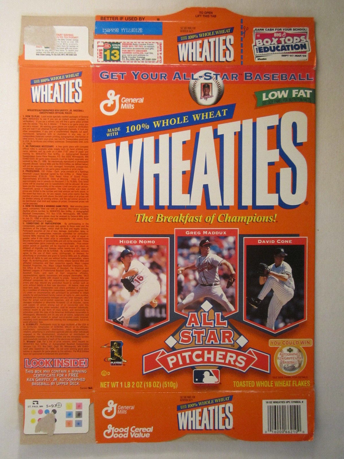 Primary image for Empty WHEATIES Box 1997 18oz ALL STAR PITCHERS Nomo Maddux Cone [Z202h6]