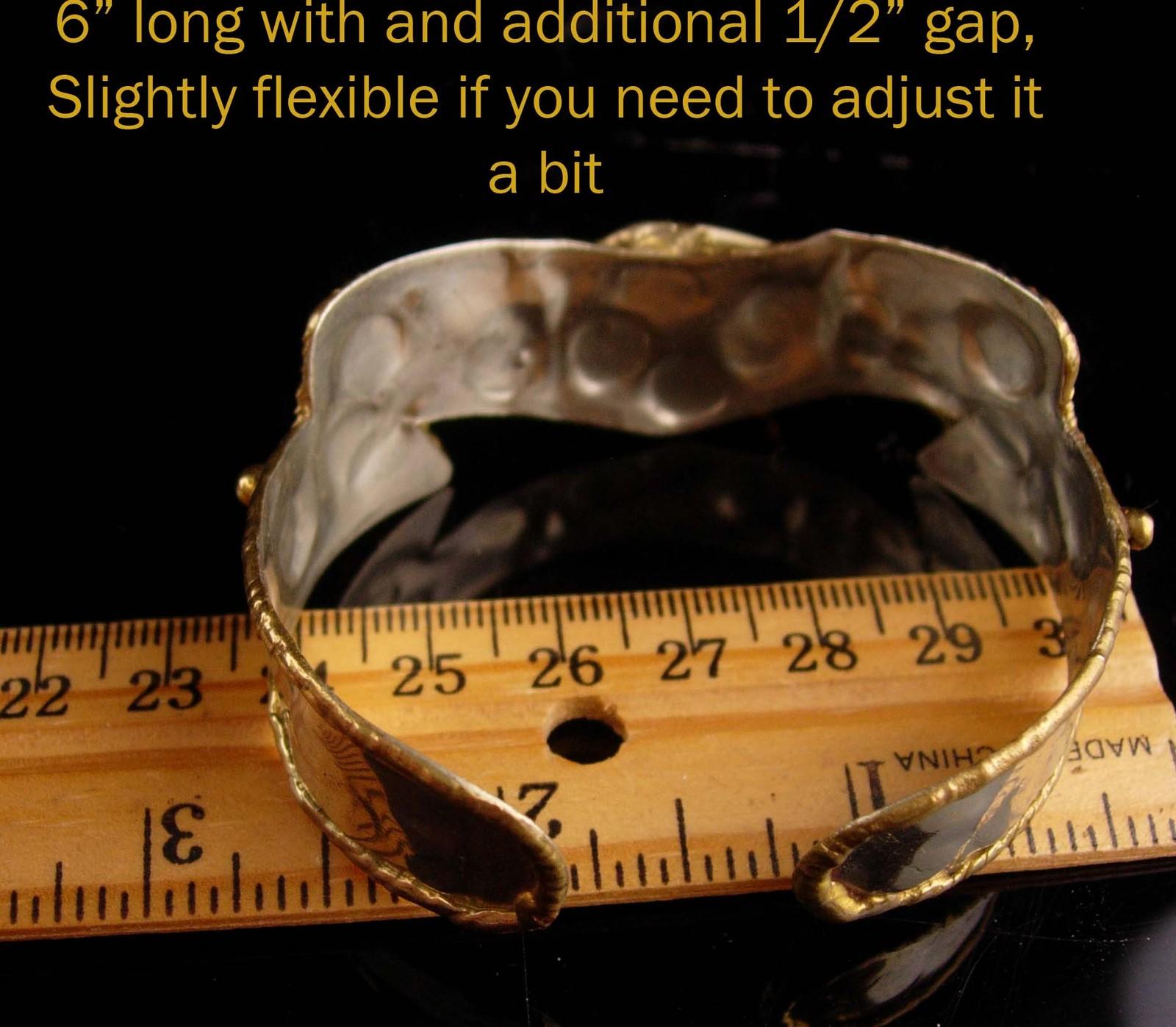 Vintage Artisan gothic Bracelet - brass overlay cuff black onyx - womens jewelry