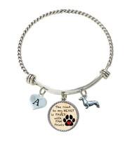 Custom Dachshund Weenie Dog Road to My Heart Paw Print Silver Wire Bracelet A-Z - $16.73