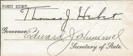 Ohio Governor Thomas J. Herbert & Secretary State Edward Hummel Signed C... - $93.38