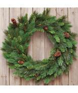 "Evergreen Pine Christmas Wreath w/ Pinecones 24"" Diameter - $49.49"