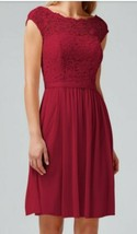 Davids Bridal Bridesmaid Dress Red Wine Size 0 With Lace F17019 knee len... - $19.99