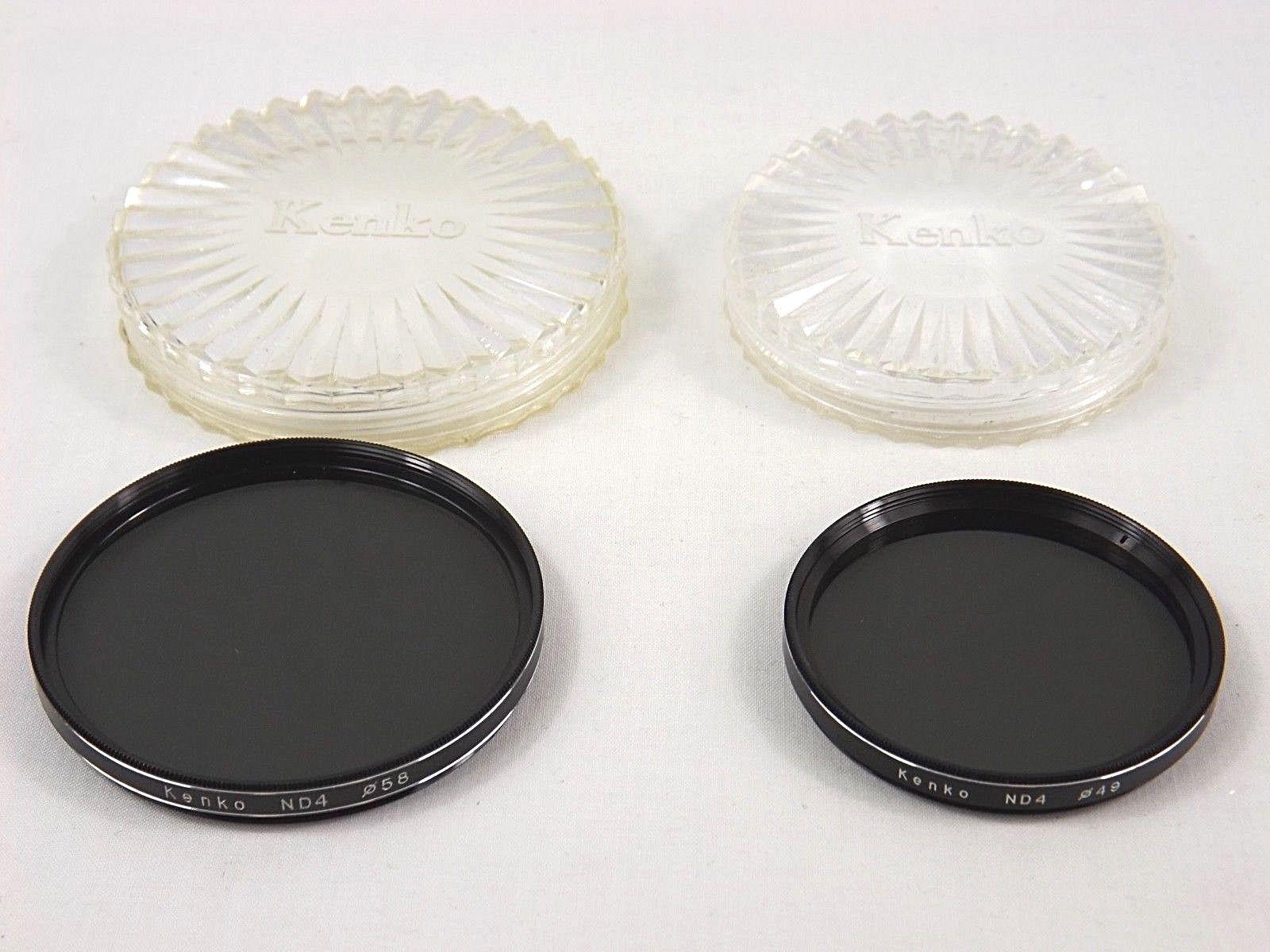 Two (2) Kenko Vintage Metal Lens Filters ND4 - 58mm & 49mm w/ Plastic Case