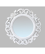 "Indian Hand Carved Round Wall Mirror in Shabby White Finish. Size : 14""x14"" - $39.71"