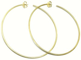925 STERLING SILVER CIRCLE HOOPS BIG EARRINGS, 9.5cm x 2mm YELLOW SATIN FINISH image 1