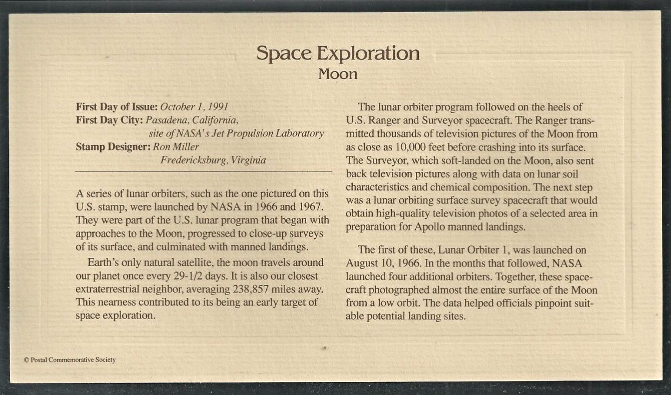 SPACE EXPLORATION - Moon First Day Gold Stamp Issue Oct. 1, 1991