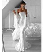 White Lace Strapless Floor Length Mermaid Prom Dress With Bell Sleeve - $188.00