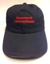 Newsweek International Cap Hat Adult Black Adjustable Leather Strap 100%... - $9.90