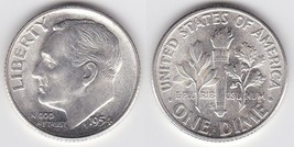 1954 S Brilliant UNC Silver Roosevelt Dime Low shipping CP1596 - $5.25
