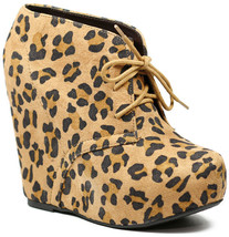 Tan Black Leopard Faux Suede Lace Up Platform Wedge Ankle Bootie Boot 5.5 us - $14.99