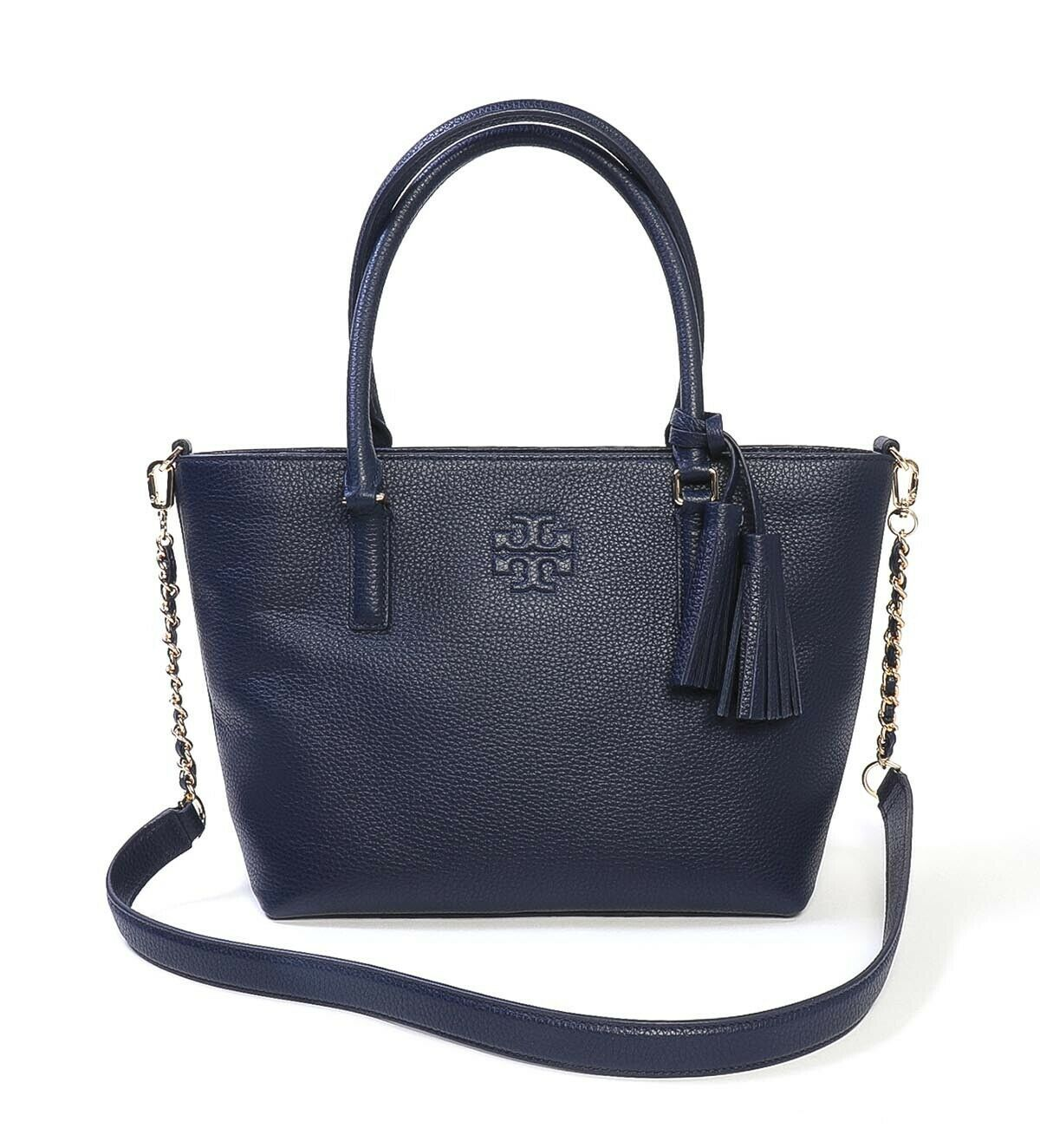 Primary image for NWT TORY BURCH Thea Small Convertible Tote Gold Chain Strap Royal Navy 55366